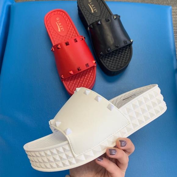 Shoes | White Studded Platform Sandal